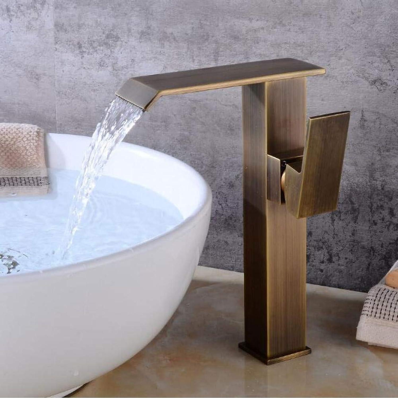 YHSGY Bathroom Sink Taps Basin Faucet Brass Black Waterfall Bathroom Sink Faucet Single Handle Big Square Lavatory Deck Hot Cold Mixer Tap Crane