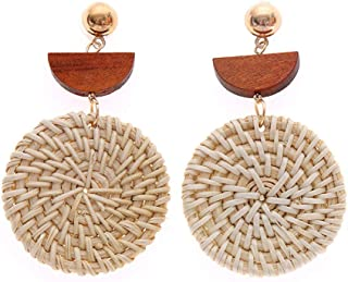 XMJM Boucles d'oreilles en Rotin, Boucles d'oreilles avec Pendentif Crochet, Pendentif Vintage Rond, Accessoires Féminins,...