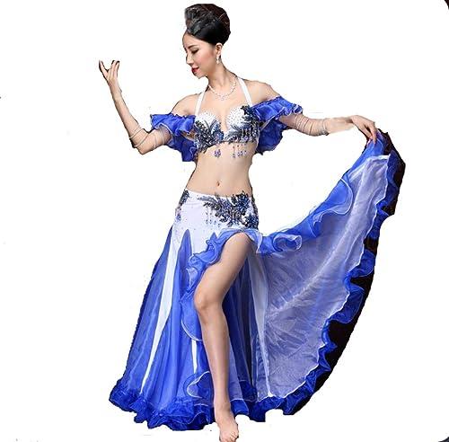 SMACO Ceinture de Soutien-Gorge de Danse Jupe Sexy Danse de Ventre Perforhommece Professionnelle Ceinture et des Jupes Maxi (Ensemble 2 pièces)