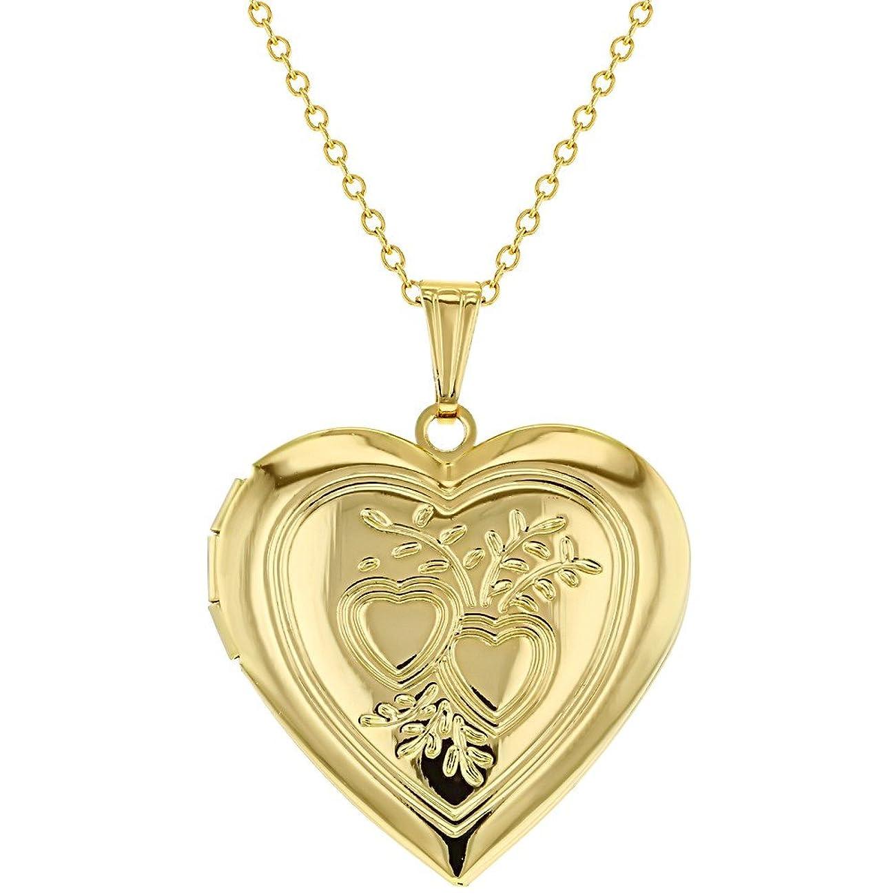 In Season Jewelry Gold Tone Heart Photo Locket Necklace Pendant Memory Love Remembrance 19