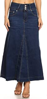 Women's Juniors High Rise A-Line Long Jeans Maxi Flared Denim Skirt in Blue Size M