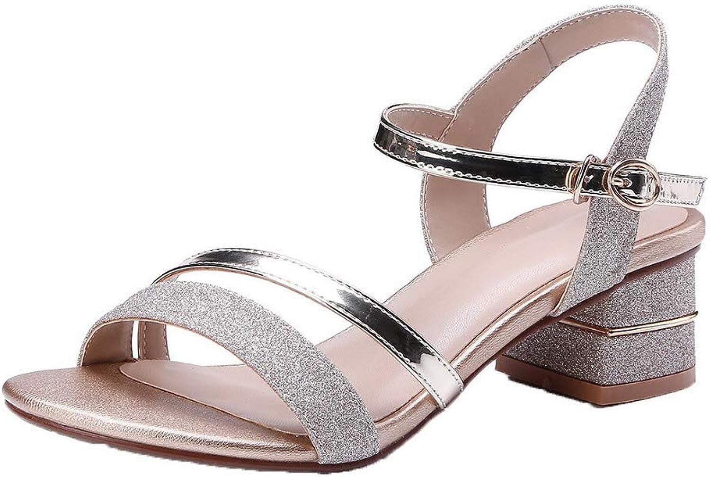 WeiPoot Women's Buckle Kitten-Heels Blend Materials Assorted color Sandals