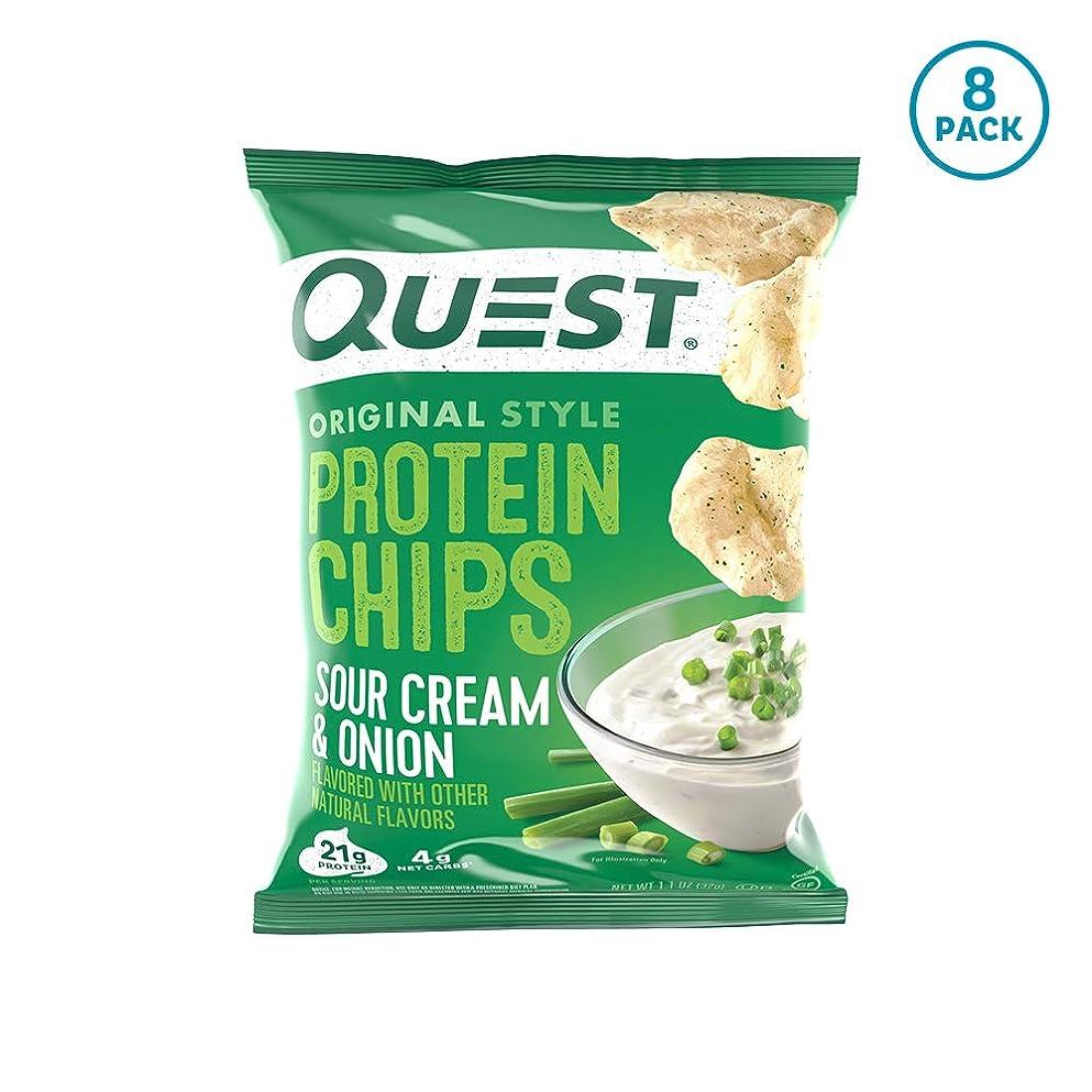 湖明日裕福なプロテイン チップス サワークリーム&オニオン フレイバー クエスト 8袋セット 並行輸入品 Quest Nutrition Protein Chips Sour Cream & Onion Pack of 8 海外直送品