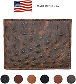 Brown Genuine Leather Wallet – Ostrich Print - RFID Blocking - American Factory Direct - Slim Bill Fold - Made in USA by Real Leather Creations FBA1127