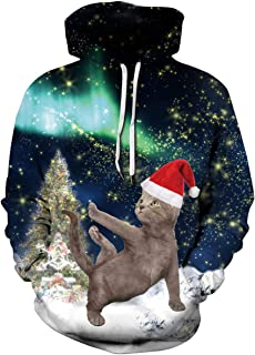 Unisex 3D Print Ugly Christmas Sweater Pullover Hoodie Sweatshirt with Pockets