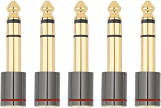 6.35mm(1/4-Inch) Male Stereo Plug to 3.5mm(1/8-Inch) Female Stereo Jack Connector (5-Pack)