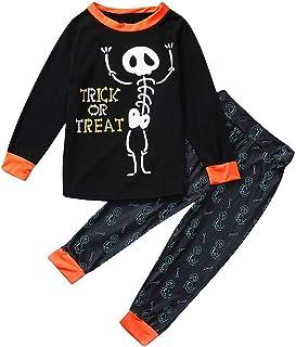 Pijama Halloween Padre Hijo Conjunto Camiseta Manga Larga y Pantalones Estampado Ropa Calaveras para Dormir Familiar Papá Bebe Mamá Ropa de Dormir Madre Hijo Trajes Casa 2Pcs