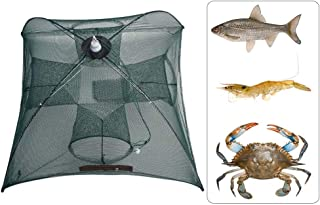 ADSRO Crawfish Trap, Portable Folded Fishing Net Hand Casting Cage Crab Trap Nylon Rope for Catching Small Bait Fish Eels Crab Lobster Minnows Shrimp