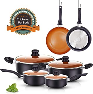 FRUITEAM 10pcs Cookware Set Ceramic Nonstick Soup Pot, Milk Pot and Frying Pans Set, Copper Aluminum Pan with Lid, Induction Gas Compatible, 1 Year Warranty Mothers Day Gifts for Wife…