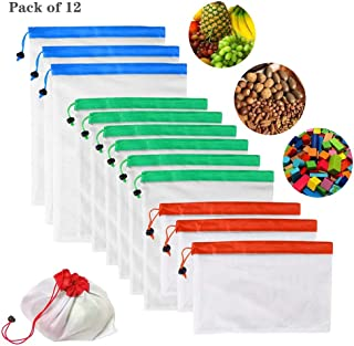 12PCs Reusable Mesh Produce Bags with Rope, Eco-friendly Net Bags Vegetable Fruit Snack Sundries Food Toys Storage Shopping Washable Mesh Produce Bags (3Red,6Green,3Blue)