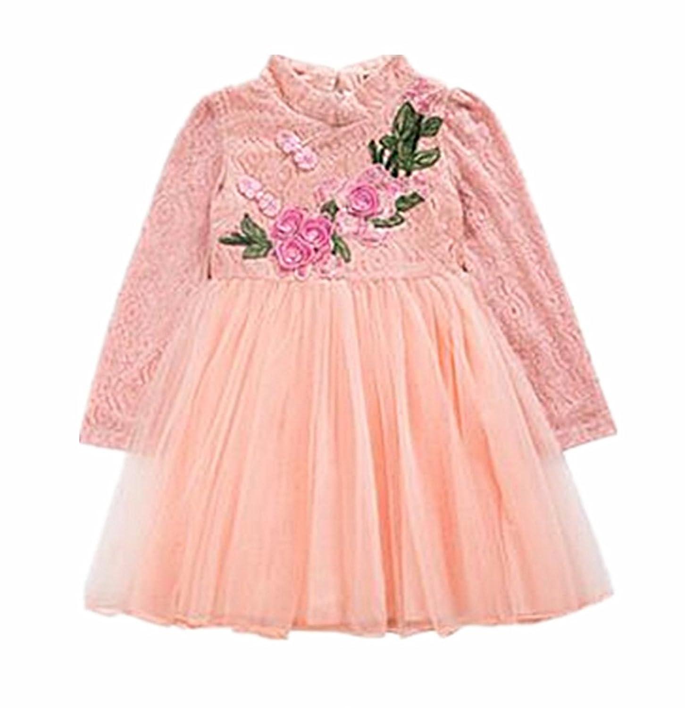 (チェリーレッド) CherryRed 子供服 フォーマルドレス 中国風 刺繍 お花 立て襟 ピンク 140