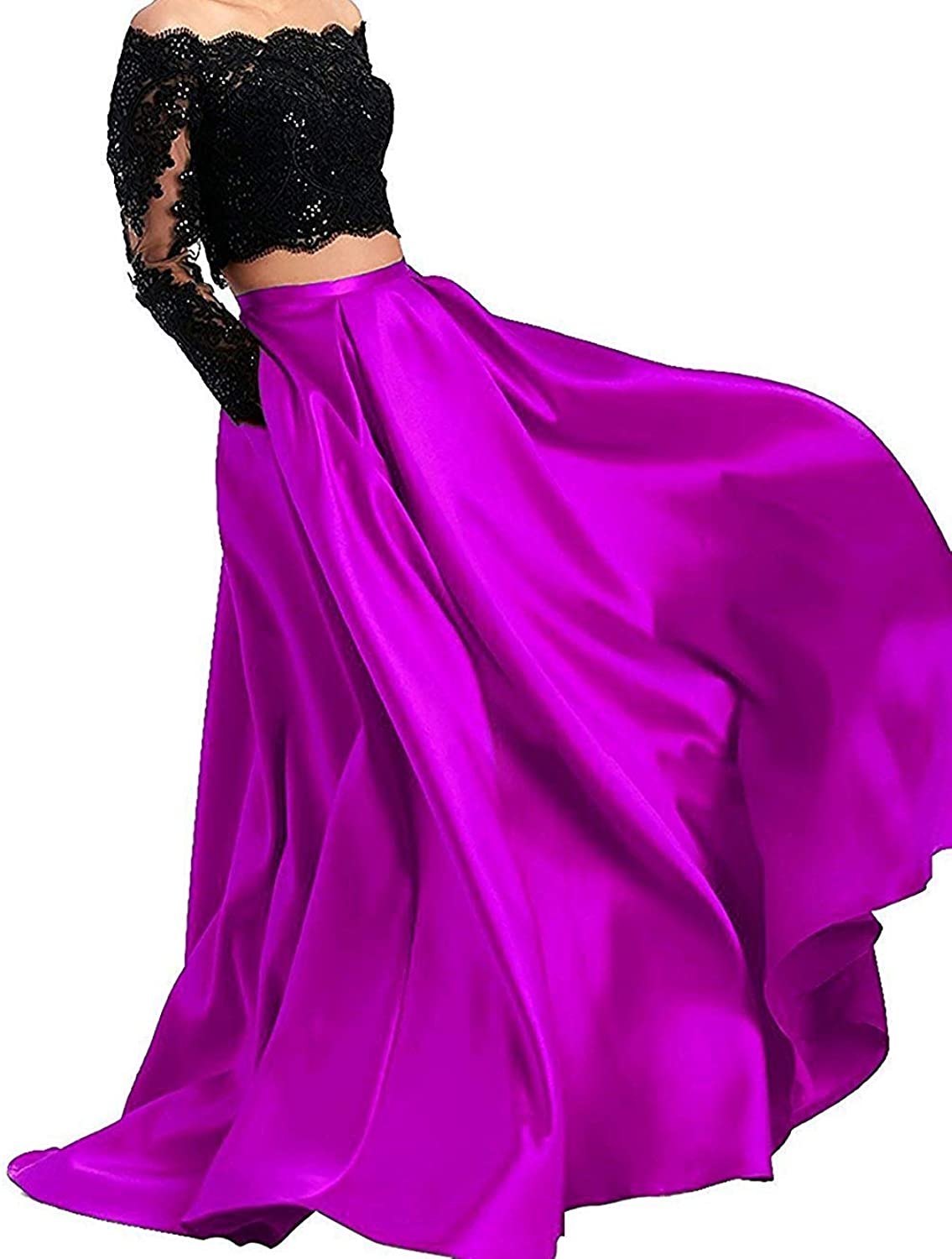 ANFF Two Piece Long Sleeves Prom Dresses Off The Shoulder Formal Dresses for Women Evening Gowns