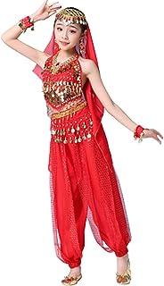 Fulision Girls' Belly Dance Costume Trouser Suit Chiffon Beautiful Backless Children Girl Halloween Carnival Costume Set(T...