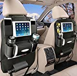 OTCPP Leather Car Seat Back Organizer for Travel With Baby Storage Bags iPad mini Holder (1 Pack)