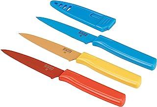 Kuhn Rikon Straight Paring Knife, 4 inch/10.16 cm Blade, Set of 3, Red, Yellow & Blue