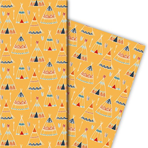 Kartenkaufrausch Abenteurer Geschenkpapier Set mit Indianer Zelten/Tipis für liebe Geschenkverpackung, DIY Projekte, Basteln, 4 Bogen, 32 x 48cm, auf gelb