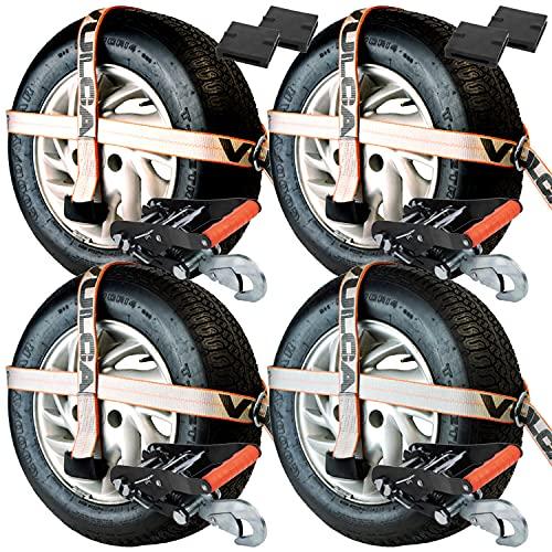 VULCAN Adjustable Loop Car Tie Downs with Snap Hook - 4 Pack - Silver...