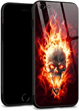 iPhone 6S Plus Case,iPhone 6 Plus Cases Tempered Glass Back Shell Pattern Designed with Soft TPU Bumper Case for Apple iPhone 6/6S Plus Cases -Flame Skull