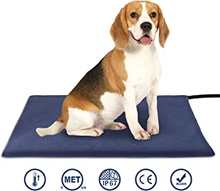 Amzdest Pet Heating Pad - Electric Heating Pad for Dogs and Cats Indoor Warming Mat with Chew Resistant Steel Cord & Washable Cover, Waterproof Cat Dog Heated Pet Bed Pad with 2 Auto Constant Control