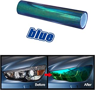 ATMOMO Blue 12 by 80 Inchs Self Adhesive Shiny Chameleon Headlights Films Tint Vinyl Film