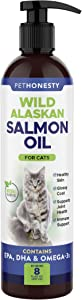 PetHonesty Liquid Wild Alaskan Salmon Oil Supplement for Cats - Reduce Itching & Shedding, Omega-3s, Fish Oil. Supports Joints, Brain, and Heart. 8 oz Bottle with Pump