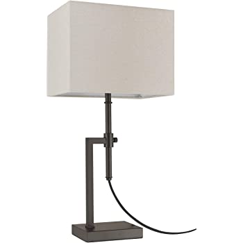 """Amazon Brand – Stone & Beam Contemporary Adjustable Height Table Lamp with Rectangular Linen Shade, LED Bulb Included, 26""""H, Brown"""