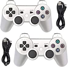 Tidoom PS3 Controller 2 Pack Wireless Bluetooth 6-Axis Gamepad Controllers Compatible for Playstation 3 Dualshock 3 Sliver 2 pcs