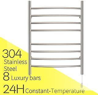 HEATGENE Towel Warmer 8 Bar Plug-in Curved Bath Towel Heater Brushed
