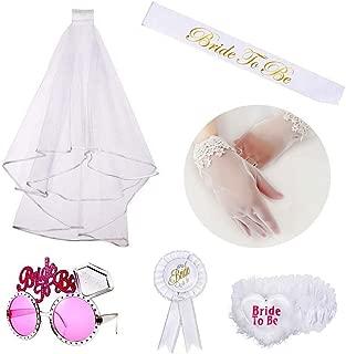 Juego de decoración de Despedida De Soltera, kit de novia incluyen banda, velo, guantes, gafas, insignia, una liga, 6 piezas en total