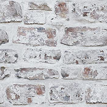 Arthouse White Washed Brick Realistic Wallpaper, Modern Home Décor