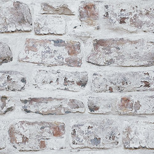Arthouse White Washed Brick Realistic Wallpaper, Modern Home Dcor