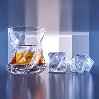 STAR Premium Whiskey Glasses set of 2, Lead Free Hand Blown Crystal+FREE Matching Ice Cube Mold,Heavy Thick bottom-Unique Tumblers for Drinking Scotch,Bourbon,Old Fashioned, Whisky Bar Set Gift set