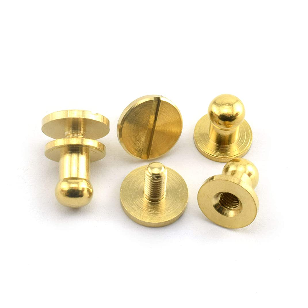 LQ Industrial 8PCS Solid Brass Sam Browne Button Screw Studs Nail Round Rivets for DIY Leather Craft Belt Wallet Handbag 5x8x8mm
