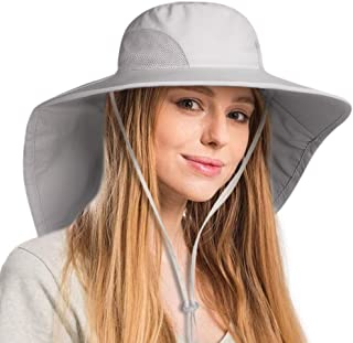 FURTALK Safari Sun Hats for Women Wide Brim Neck Flap Ponytail UPF Outdoor Fishing Hiking Hat