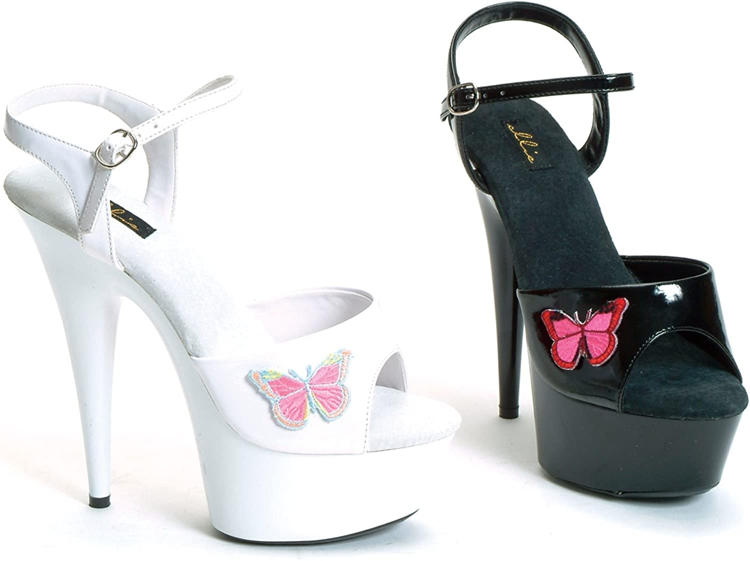 6 Inch Pointed Stiletto Women'S Size shoes With Embroidered Butterfly And Ankle Strap