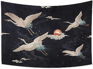 Haoyiyi 39.4x27.6 Inches Crane Tapestry Wall Hanging Red Sun Clouds Night Starry Sky Japanese Dragon Crane Phoenix Element...
