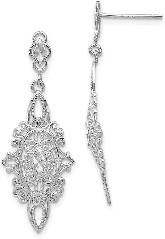 Beautiful White gold 14K 14k White gold Diamondcut Filigree Dangle Earrings