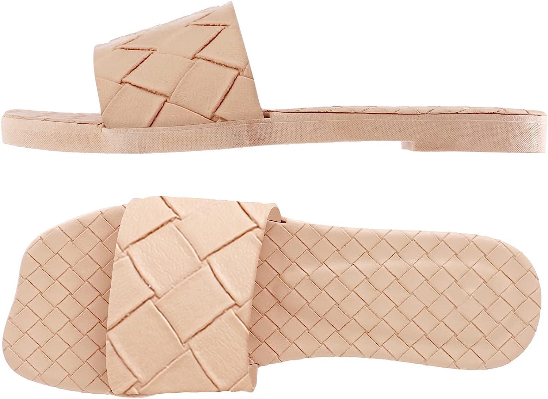 depdream Women's Square Open Toe Slides Sandals Comfort Braided Slip On Thick Quick Drying Slipper Anti-Slip House Shoes