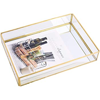 "Sooyee Gold Tray Mirror, Rectangle Mirror Tray can Hold Perfume, Jewelry, Cosmetics, Makeup, Magazine and More,Decorative Tray for Vanity,Dresser,Bathroom,Bedroom(12""x8 x2)"