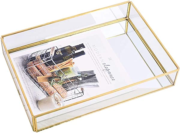Sooyee Gold Tray Mirror Rectangle Mirror Tray Can Hold Perfume Jewelry Cosmetics Makeup Magazine And More Decorative Tray For Vanity Dresser Bathroom Bedroom 12 X8 X2