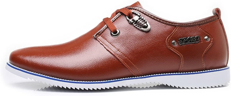 CHENDX Schuhe, Herrenmode Atmungsaktive Business-Halbschuhe aus echtem Leder mit mit Schnürung und Leinen (Farbe   Braun, Größe   45 EU)  Outlet-Store