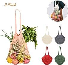 5 Stück Cotton Einkaufsnetz Netzbeutel mit Langer Griff, Creatiees Wiederverwendbar Einkaufstasche Netze Tasche Kartoffelsack, Tragbar Einkaufsnetz Veranstalter für Lager Obst Gemüse Markt5 Farben