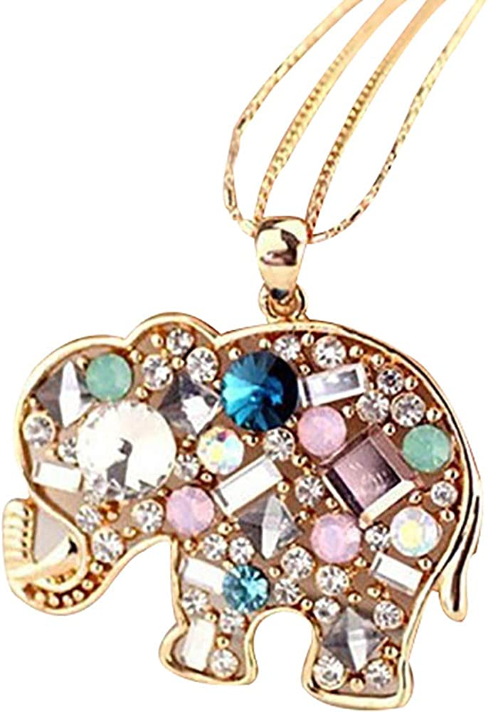 ywbtuechars Multicolor Rhinestone Elephant Necklace Long Chain Party Jewelry Sweater Decor
