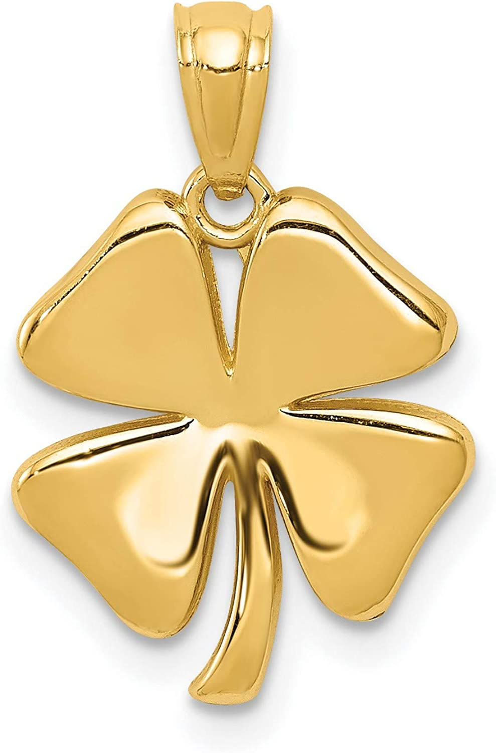 14k Yellow Gold Polished Four Leaf Clover Pendant