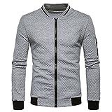 JUTOO Cardigan à Manches Longues à Carreaux pour Hommes Zipper Sweatshirt Tops Veste Manteau Outwear