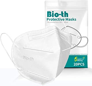 Bio-th 5 Ply Protective Face Mask, 5 Layers Cup Dust Safety Masks Pack of 20