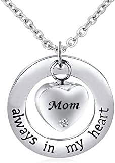 Urn Necklace for Ashes Cremation Keepsake Always in My Heart