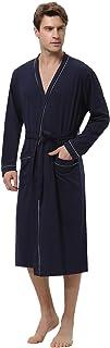 Hombre Bata y Albornoz Largo con Cinturón,Bata de Baño Algodon Ropa de Dormir Casual Kimono para Piscina Sauna SPA Hotel Party S-XXL