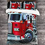 AIMILUX Funda Edredón,Ayuda de Emergencia de vehículos de Bomberos para Camiones temáticos de Transporte público de Bomberos,Ropa de Cama Funda Nórdica,1(140x200cm)+2(50x80cm)