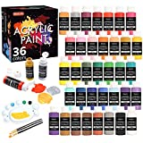 Acrylic Paint Set, Shuttle Art 36 Colors (60ml, 2oz) with 3 Brushes & 1 Palette, Craft painting, Rich Pigments,Non-Toxic for Artists,Beginners and Kids on Rocks, Crafts, Canvas,Wood, Fabric, Ceramic